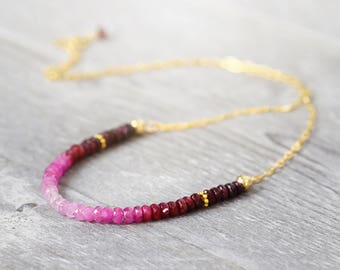Genuine Ruby Necklace - Ombre Necklace - July Birthstone - Gold Ruby Necklace - Ruby Jewelry - Ruby Bead Necklace - Ruby Anniversary Gift