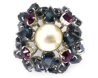 Vintage 1950s Christian Dior Blue & Pink Glass Faux Pearl Brooch