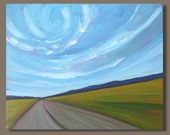 landscape painting, prairie painting, road painting, small art, impressionism, small painting, blue green, horizontal, gift, mini art