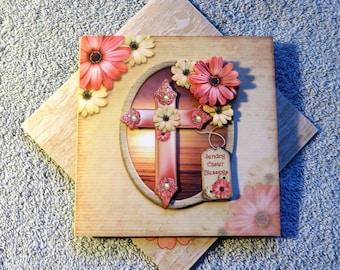 Handmade blessed Easter cross card