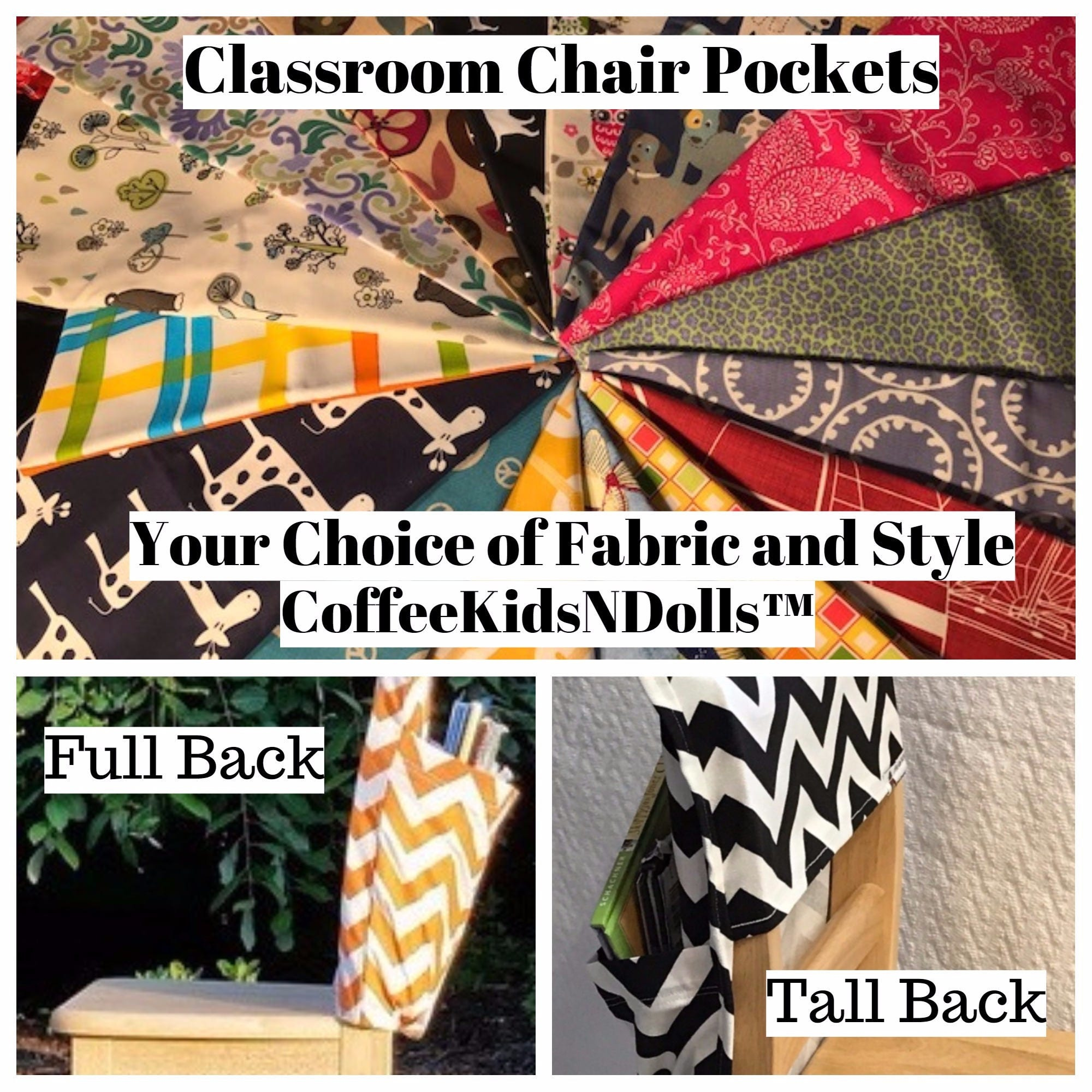 Chair Pockets Seat Sacks YoU ChOoSe Full or Tall Back