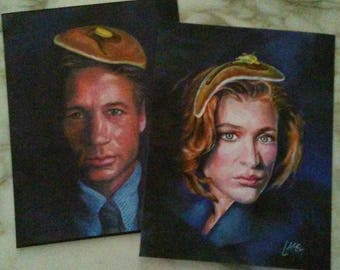Canvas Print / Xfiles Agent Mulder & Scully Two Print Set