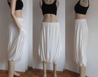 Casual Loose Pockets Cotton White Pants, Bloomers Women Pants, Wide leg Pants, Trousers, Elastic Comfortable, Soft  Spring Summer sundress.