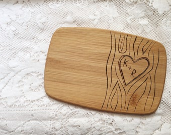Personalized Cutting Board. Tree Carving with Couple's Initials.
