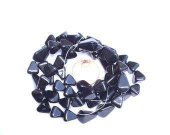 25 Beads Czech Pressed Black Triangular beads