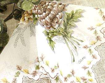 """Vintage Ladies Handkerchief, Colette, Wedding Hanky, Fall Colors, Mums, Mother of the Bride, Bridesmaid, Bride Original Tags Farmhouse  15"""""""