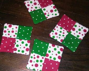 Set of 4 Red & Green Polka Dot Christmas/Holiday Fabric Wine Glass Coasters
