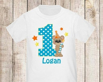 ON SALE 1st Birthday Bear Personalized Birthday Shirt - ANY Age
