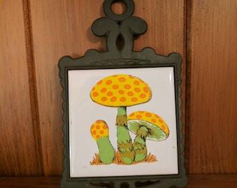 Mushroom Art Shun Long Cast Iron and Ceramic Tile Wall Hanging