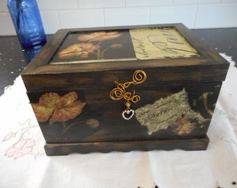 Black and gold jewellery box for an older teenage girl or special lady. Paris theme hand decorated box
