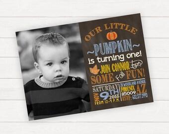 Fall Birthday Invitation Fall Birthday Invitation Pumpkin Birthday Invitation Little Pumpkin Birthday Boy Birthday Boy 1st Birthday