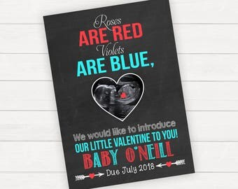 Valentine's Day Pregnancy Announcement Valentine's Pregnancy Announcement Ultrasound Announcement Baby Reveal Pregnancy Reveal Sign