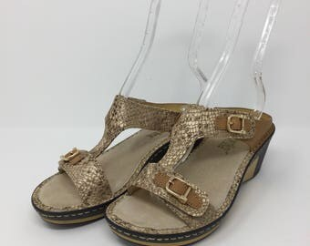 "Alegria Women's Leather ""Lara"" Slip On Sandals Gold 36 6 - 6.5 US"