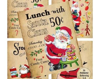 2 Vintage Santa Claus Train Trolley Christmas Cards Digital