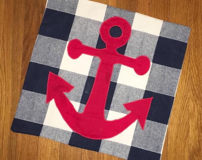 Blue Buffalo Check Anchor 16x16 Pillow Cover home Decor Farmhouse Decor Christmas valentine pillow Navy Mom Pillow