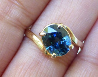 14k Retro Natural Blue Green Sapphire solitaire ring