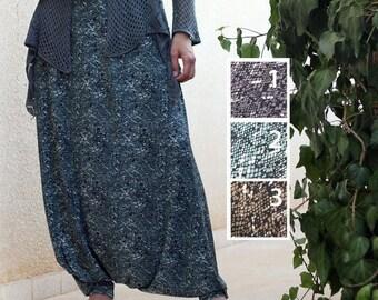 ON SALE Casual Harem Skirt Pants, Drop Crotch - Very Low Crotch Pants, Goddess clothing, Plus Size Maternity, Custom made, Tall Women's Clot