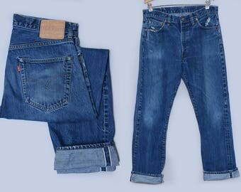Levis 551 ZXX Reproduction Big E Single Stitch w/ Hidden Rivets Redline Selvedge Indigo Denim Jeans 34 x 31
