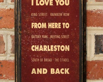 Charleston sc etsy i love your from here to charleston sc custom color wall art sign gift present home negle Images