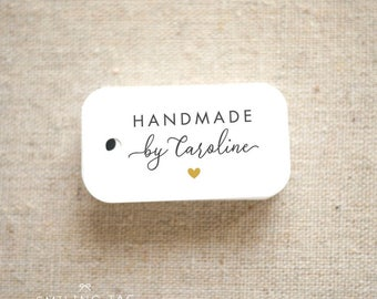 Handmade By Personalized Gift Tags - Handmade with Love Tags - Etsy Product Tags - Etsy Shop Labels - Set of 40 (Item code: J717)