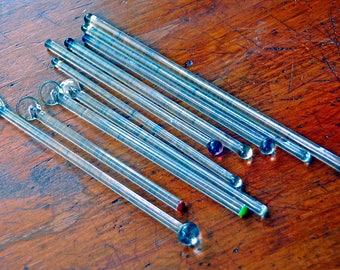 10 Vintage 1930-50s GLASS SWIZZLE STICKS Various Sizes Excellent Condition