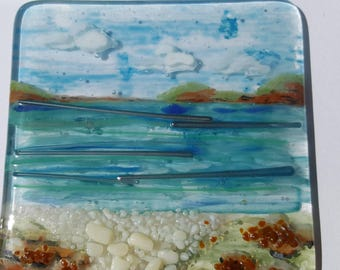 Seascape wall hanging tile.  Hand Painted Textured Seaside tile. Fused Glass  SRAJD, GBUK, fhf