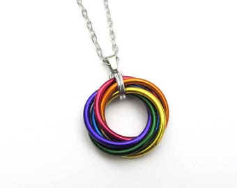 LGBT pride necklace, large love knot chainmail pendant, rainbow gay pride jewelry