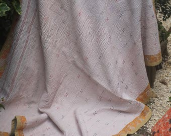 White Kantha Quilt, White Kantha Throw,White Sari throw,Patchwork Kantha, Patchwork Throw, Vintage Kantha Quilt,