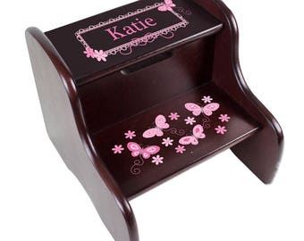 Personalized Espresso Two Step Stool with Pink Butterflies Design-fixe-esp-300a