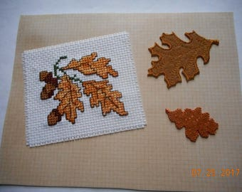 cross stitch card Fall leaves and acorns  BIRTHDAY Card Autumn leaves card