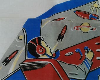"""Herrmann """"Handrafted"""" Vintage Hankie with Retro Spaceman and Original Foil Label"""