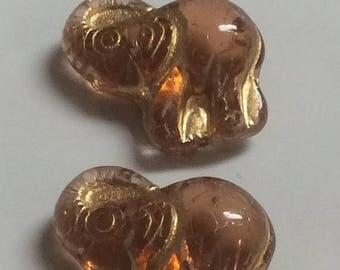 ON SALE Czech Glass Elephant Bead 20mm X 21mm Dark Rose Gold Wash Qty 2