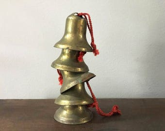 Old Bells  / Collection of 5 Mini Brass Tone Bells / Christmas Bells / Rustic Decor