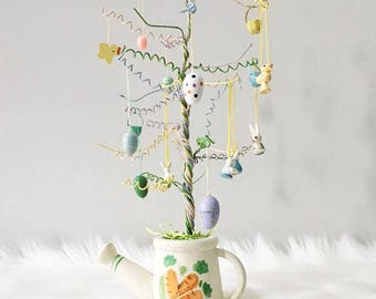 Vintage Easter Tree / Easter Tree and Ornaments / Wooden Easter Ornaments / Egg Tree / Spring Decor / Easter Decor / Pastel Wire Tree