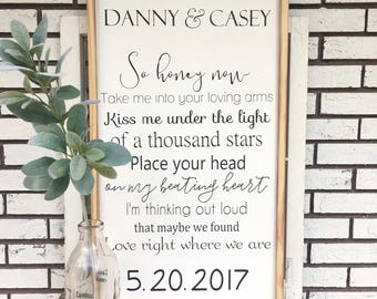 Ed Sheeran Thinking Out Loud lyrics. Barn wood frame. Personalized with names and date.
