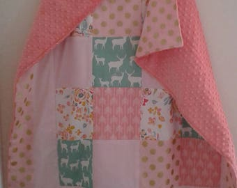 Baby Bedding Crib Quilt and Crib Skirt Mint Pink Woodland  Premium Prints