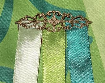 Coronation Anna Antique Bronze Hair Clip with Ribbons Frozen Disney Princess Barrette Accessory