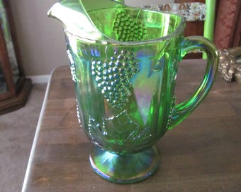 Vintage Green Carnival Glass Pitcher With Grape Design Excellent Condition