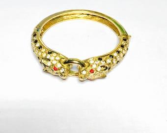 Vintage Cuff Bracelet, dragon design, rhinestones , gold tone, Clearance Sale, item No. B403