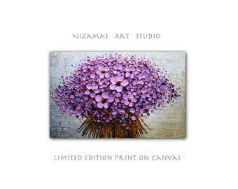 Art on canvas Purple Bouquet limited edition print  Home Interior Decor Wall Art ready to hang