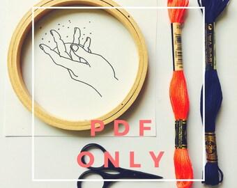 Girl Magic Printable Pattern Modern Embroidery PDF Hoop Art DIY