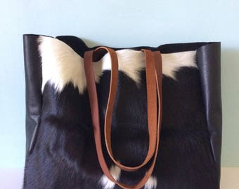 Cowhair and leather tote bag, leather shopper bag, simple leather tote/ holdall