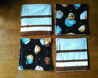 Set of 4 Reversible Coffee Coasters