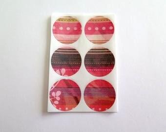 Sticker set of 30, paper stickers, envelope seals, red pink black