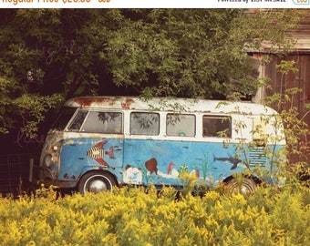 Christmas in July Hippie Bus Photo, Vintage Volkswagon Photography, Retro Rainbow VW Picture, Bright Dorm Office Livingroom Bedroom Print, H