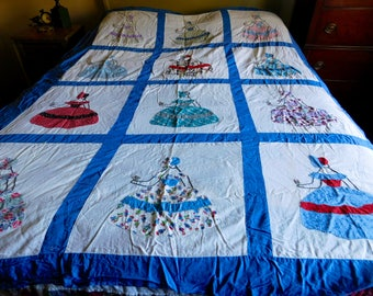 Sunbonnet Lady Quilt Top, Hand Appliquéd, Embroidered, Hand Pieced Flour Sack & Muslin, Farmhouse Style Quilt Top Only, Ready to be Finished
