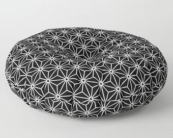 36 colours, 6 point star Pattern, Round or Square Floor Pillow, Geometric, Plush Cushion, Black and White, Nordic Scandinavian style