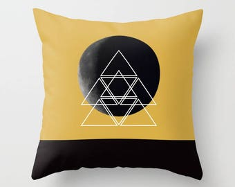 8 Colours, Geometric Moon Montage pillow, Spicy Mustard, Triangles Decor, Moon art, Faux Down Insert, Photo Montage, Indoor or Outdoor cover