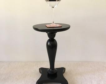 Vintage Gloss Black Drinks Table, Martini Table, Petite Side Table, Handturned Wood