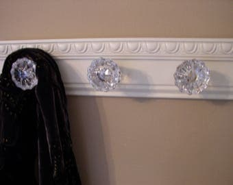 RESERVED FOR DEBRA 20 inch coat rack with 4 glass door knobs and decorative beveled moulding. shabby chic  robe pursr decor only